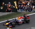 Sebastian Vettel comemora a vitória no Grande Prêmio da Coreia do Sul 2012