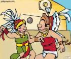 O jogo de bola maia era um ritual, os jogadores lutam para passar a bola pelo anel de pedra