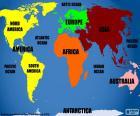 Mapa de continentes e oceanos