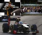 Kimi Raikkonen comemora sua vitória no grande prêmio de Abu Dhabi 2012