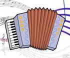 Desenho de um acordeão com música de notas