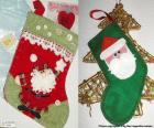 Meias de Natal decorados com Papai Noel