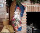 Meia de Natal pendurada na chaminé