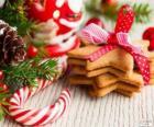 Bastão de doces e biscoitos para o Natal