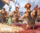 Os seis membros da família Croods