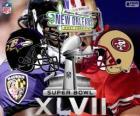 Super Bowl 2013. San Francisco 49ers contra o Baltimore Ravens. Superdome, Nova Orleães