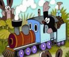 Krtek, a toupeira em uma locomotiva do vapor