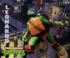 Leonardo, tartaruga ninja a atacar com katanas