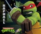 Raphael, a tartaruga ninja mais agressiva com os braços na mão, um par de Sai, uma adaga de três pontas