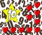 Número 10 em uma estrela com dez corações