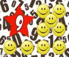 Número 9, em uma estrela com nove smiles ou sorrisos