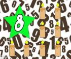 Número 8 em uma estrela com oito velas