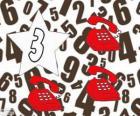 Número 3, em uma estrela com três telefones