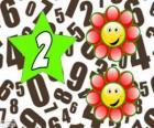 Número 2, em uma estrela com duas flores