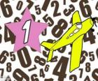 Número 1 em uma estrela com um avião