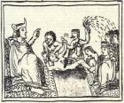 Moctezuma no trono. O Huey Tlatoani, o governante do antigo povo asteca