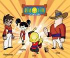 Os quatro guerreiros Xiaolin: Raimundo, Kimiko, Omi e Clay