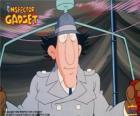 O Inspector Bugiganga usando um de seus gadgets, o helicóptero do chapéu