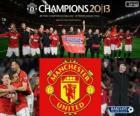 Manchester United, campeão da Premier League 2012-2013, liga de futebol da Inglaterra