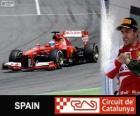 Fernando Alonso comemora sua vitória no grande prémio de Espanha 2013