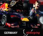 Sebastian Vettel comemora sua vitória no Grande Prêmio da Alemanha 2013