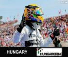 Lewis Hamilton comemora sua vitória no Grande Prêmio da Hungria 2013