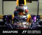 Sebastian Vettel comemora sua vitória no Grand Prix de Cingapura 2013