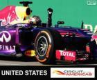 Sebastian Vettel comemora sua vitória no Grande Prêmio de Estados Unidos 2013
