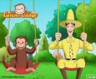 George o macaco com seu amigo Ted, o homem de chapéu amarelo