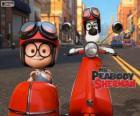 Mr. Peabody e Sherman na motocicleta com sidecar