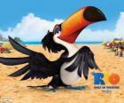 O tranquilo e sábio tucano Rafael, um dos protagonistas do filme Rio