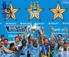 Manchester City, campeão da Premier League de 2013-2014, liga de futebol da Inglaterra