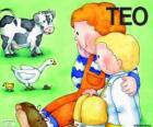 Teo e sua irmã Clara com animais