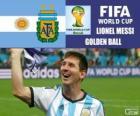Lionel Messi, bola de ouro. Copa do mundo de futebol Brasil 2014