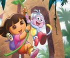 Dora e Botas em uma de suas aventuras
