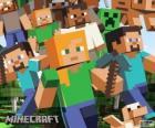 Vários personagens de Minecraft