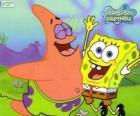 Bob Esponja e Patrick muito feliz