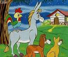Os músicos de Bremen: um burro, um cão, um gato e um galo