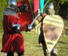 Dois soldados que lutam com espadas e escudos