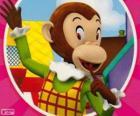 O macaco Marta faz piadas para os outros brinquedos