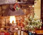Lareira rústica decorada para o Natal