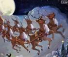 As renas mágicas puxando o trenó