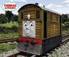 Toby é o trem-bonde marrom, número 7, O Toby é a locomotiva Nº 7 castanha