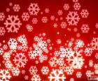 Flocos de neve fundo vermelho