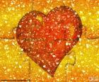 Quebra-cabeça coração vermelho