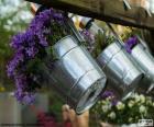 Flores em vasos de metal