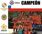 Chile, campeão da Copa América Centenário 2016. Ele derrotou o final a equipe nacional da argentina na disputa de pênaltis