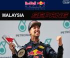 Daniel Ricciardo, comemora sua vitória no Grande Prêmio da Malásia 2016