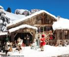 A cena do nascimento de Jesus com seus personagens principais em um frio dia de dezembro
