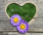 Coração e duas flores